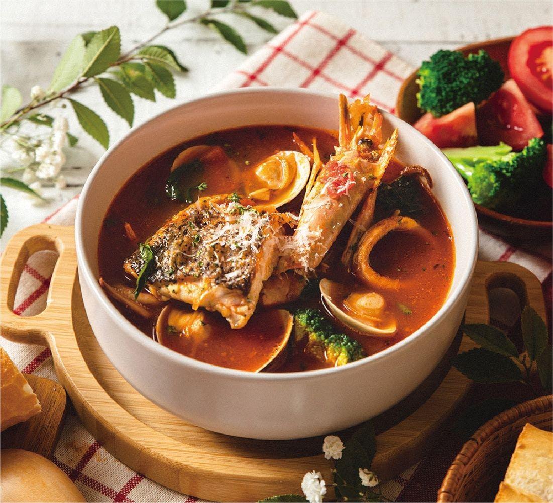 卡布里蕃茄海鮮湯(均附香烤麵包片)